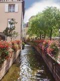 都市阿尔萨斯科尔马的横向 免版税库存图片