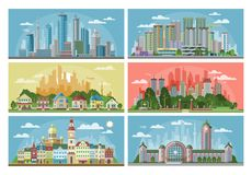 都市风景传染媒介与都市建筑学大厦的城市风景或建筑和房子镇街道的 库存例证