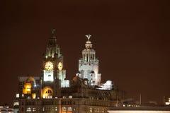 都市风景利物浦晚上 库存照片