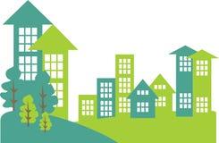 都市风景和郊区与大厦 免版税图库摄影