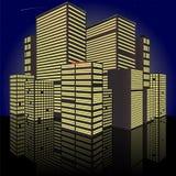 都市风景在晚上 做在传染媒介 免版税库存图片