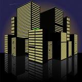 都市风景在晚上 做在传染媒介 免版税库存照片