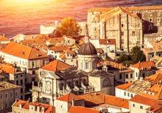 都市风景在杜布罗夫尼克,克罗地亚 免版税图库摄影