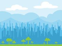 都市风景地平线传染媒介例证 库存图片