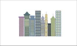 都市风景场面的大厦的象 向量例证