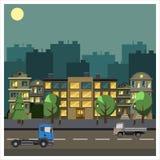 都市风景平的设计 库存例证