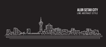 都市风景建筑限界艺术传染媒介例证设计-亚罗士打市 免版税库存图片