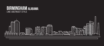 都市风景建筑限界艺术传染媒介例证设计-伯明翰市阿拉巴马 免版税图库摄影