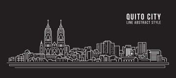 都市风景建筑限界艺术传染媒介例证设计-基多市 免版税库存照片