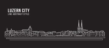 都市风景建筑限界艺术传染媒介例证设计-琉森市 向量例证