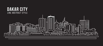 都市风景建筑限界艺术传染媒介例证设计-达喀尔市 免版税图库摄影