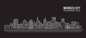 都市风景建筑限界艺术传染媒介例证设计- Mendoza市 向量例证