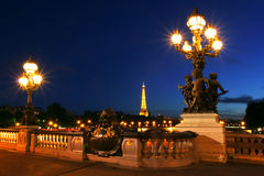 都市风景晚上巴黎 库存照片