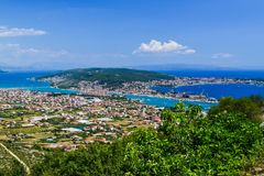 都市风景特罗吉尔,克罗地亚 免版税库存图片