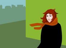 都市风景的流行艺术女孩 库存图片