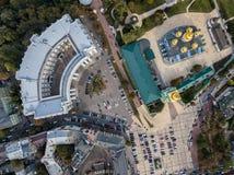 都市风景空中照片  免版税库存图片