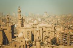 都市风景背景在开罗,埃及 免版税库存照片