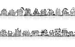 都市风景草图,无缝的墙纸 库存照片