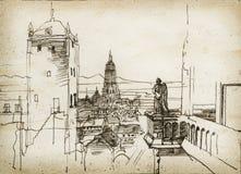 都市风景草图 免版税库存照片
