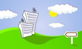绘画都市风景覆盖例证卡片太阳 免版税库存图片