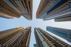 都市风景迪拜海滨广场全景场面日落 阿拉伯联合酋长国 免版税库存照片