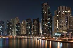 都市风景迪拜海滨广场全景场面日落 免版税图库摄影