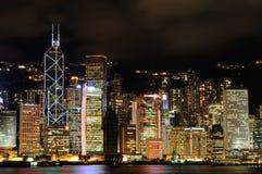都市风景香港晚上场面 免版税库存照片