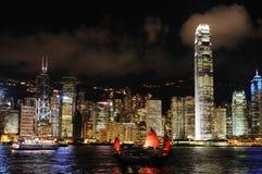 都市风景香港晚上场面 免版税库存图片