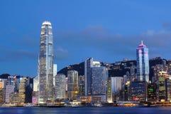 都市风景香港晚上场面 库存照片