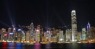 都市风景香港点燃晚上交响乐 免版税库存照片