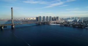 都市风景鸟瞰图在基辅 trraffic的城市 股票视频