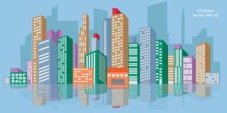 都市风景,传染媒介例证EPS 10 免版税库存照片