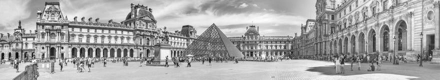 都市风景,全景,横幅,黑白-天窗宫殿的看法 免版税库存图片