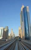 都市风景,地铁,迪拜 免版税库存照片