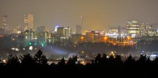 都市风景,艾恩德霍芬市在晚上 免版税库存图片
