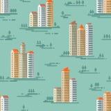 都市风景-在平的样式设计的传染媒介背景无缝的样式 大厦和树背景 库存图片