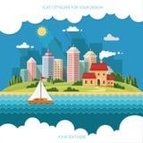 都市风景-夏天一个大城市的背景的乡间别墅 免版税图库摄影