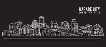 都市风景建筑限界艺术传染媒介例证设计-哈拉雷市 库存例证