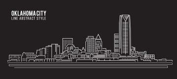 都市风景建筑限界艺术传染媒介例证设计-奥克拉荷马市 库存例证