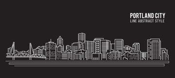 都市风景建筑限界艺术传染媒介例证设计-波特兰市 向量例证