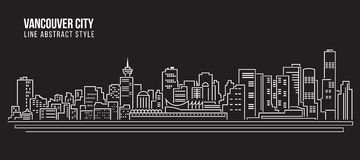 都市风景建筑限界艺术传染媒介例证设计-温哥华市 库存图片