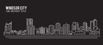 都市风景建筑限界艺术传染媒介例证设计-温莎市 向量例证