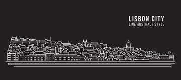 都市风景建筑限界艺术传染媒介例证设计-里斯本市 向量例证