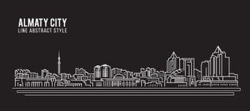 都市风景建筑限界艺术传染媒介例证设计-阿尔玛蒂市 向量例证