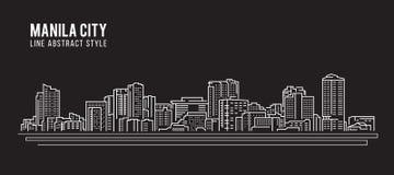 都市风景建筑限界艺术传染媒介例证设计-马尼拉市 库存例证