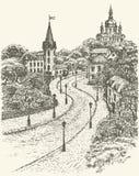 都市风景eps文件包括的向量 教会和城堡在安德鲁下降在基辅 皇族释放例证