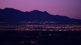 都市风景las晚上维加斯 拉斯维加斯西边 股票录像