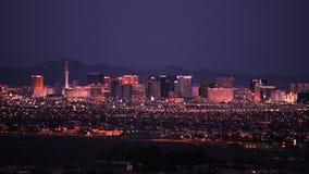 都市风景las晚上维加斯 las地平线维加斯 股票录像
