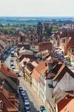 都市风景Tangermunde (萨克森Anhalt,德国)与老镇 免版税库存图片