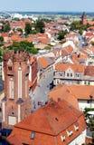 都市风景Tangermunde (萨克森Anhalt,德国)与老镇 库存图片